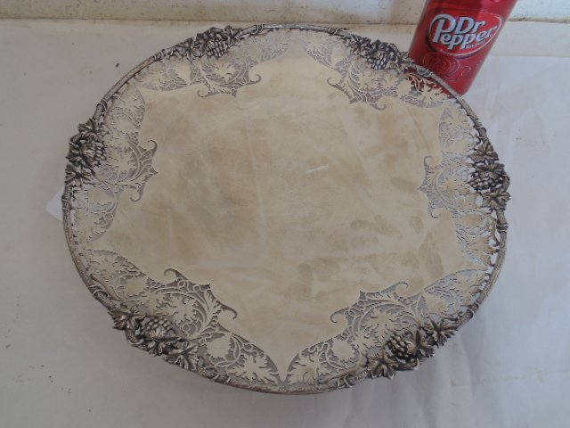 English silver halmarked dish, grape decoration