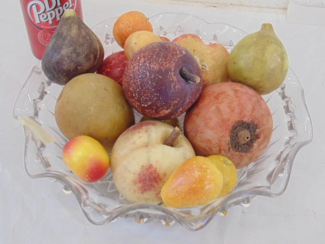 Lot of handpainted, carved marble fruit