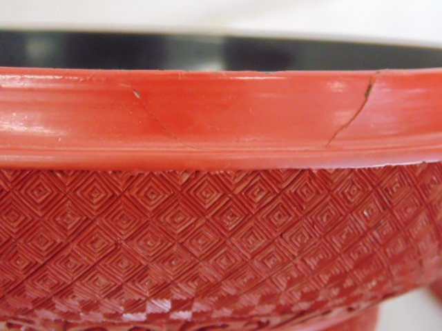 Pair Chinese carved cinnabar covered boxes - 10
