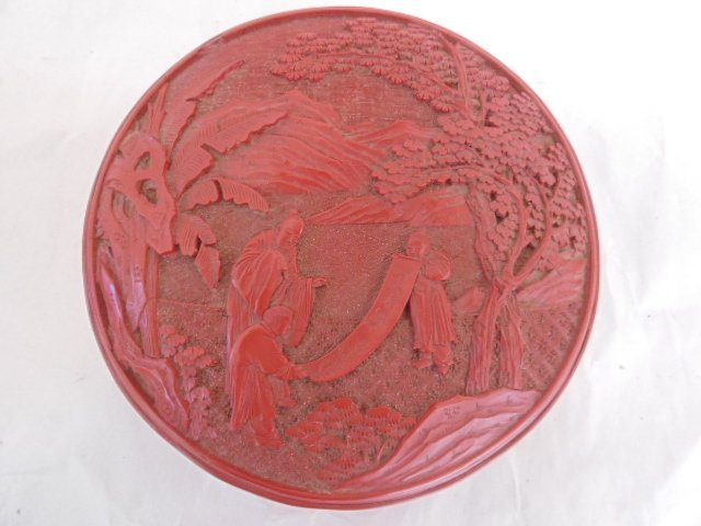 Pair Chinese carved cinnabar covered boxes - 4