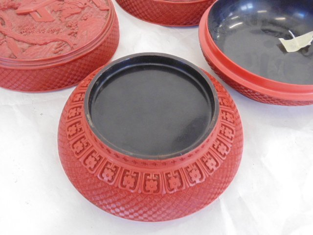 Pair Chinese carved cinnabar covered boxes - 8