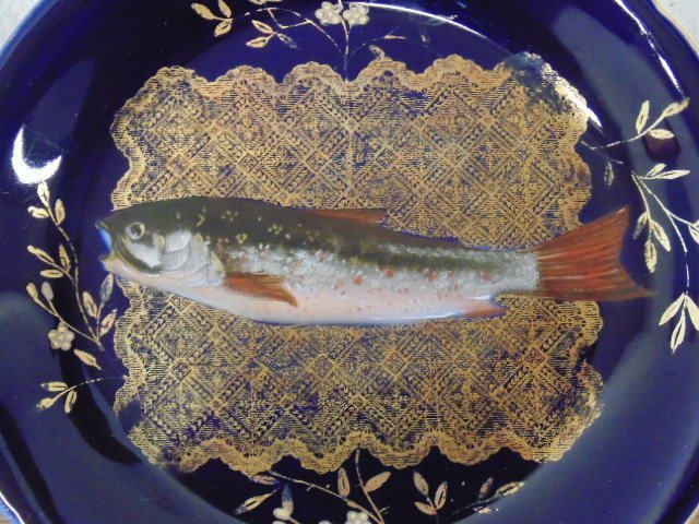 Limoges fish set, large serving plate with 9 plates - 4