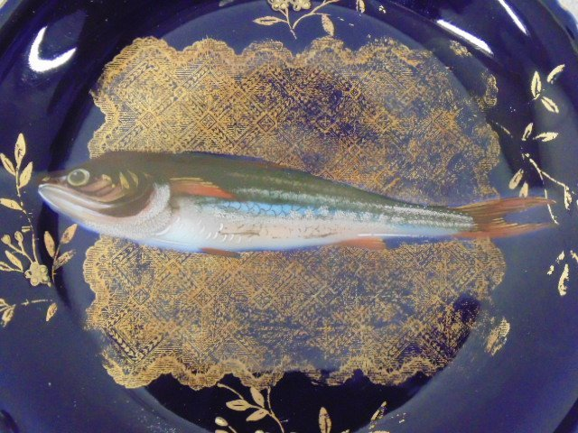 Limoges fish set, large serving plate with 9 plates - 5