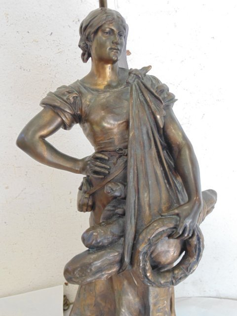 French bronze figural lamp, Thiebaut Freres foundry. - 2