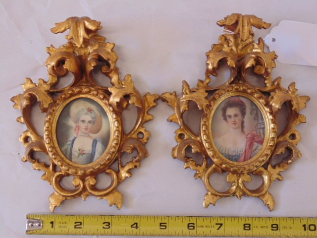 Pair French miniature portraits