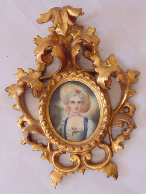 Pair French miniature portraits - 2