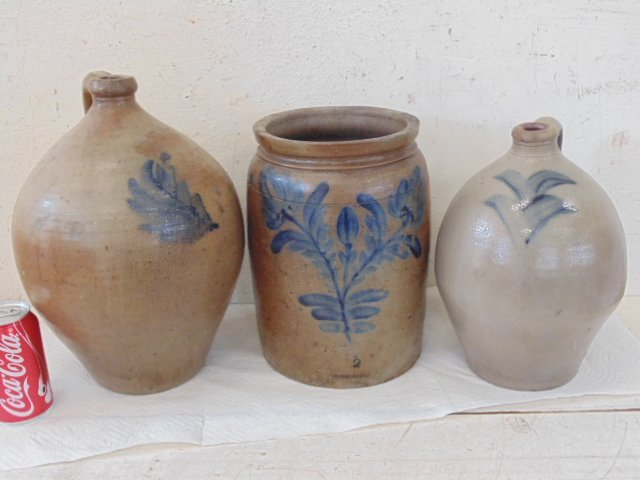 3 early paint decorated stoneware crocks