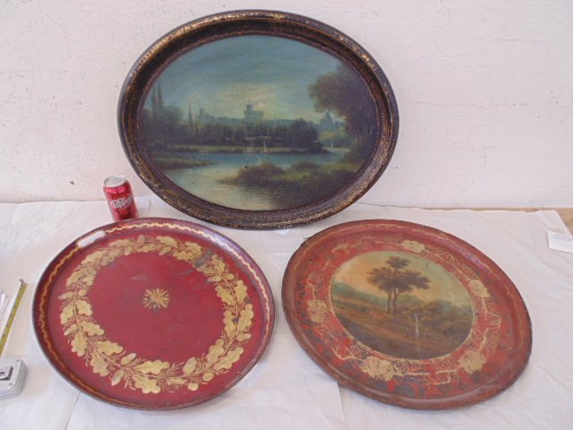 3 paint decorated tole & paper Mache serving trays