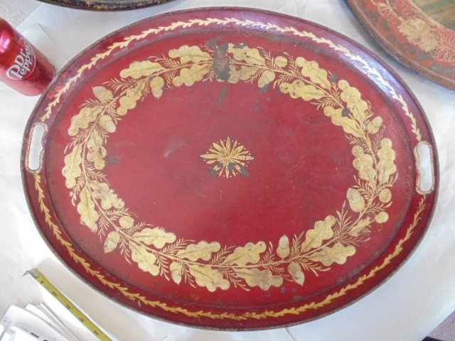 3 paint decorated tole & paper Mache serving trays - 3