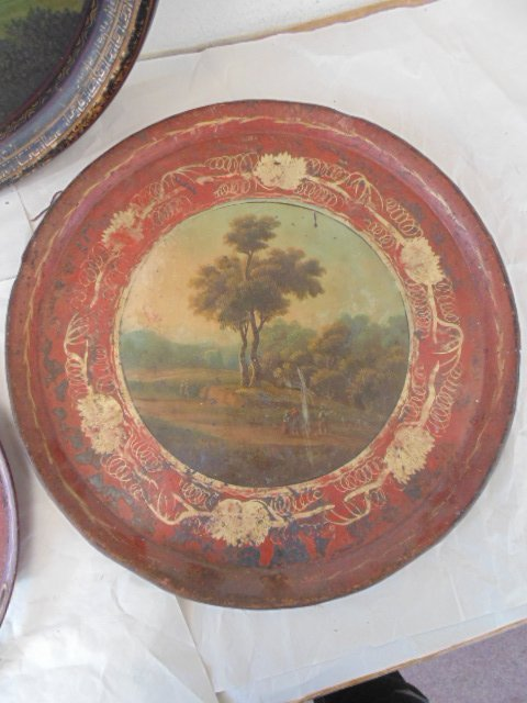 3 paint decorated tole & paper Mache serving trays - 4