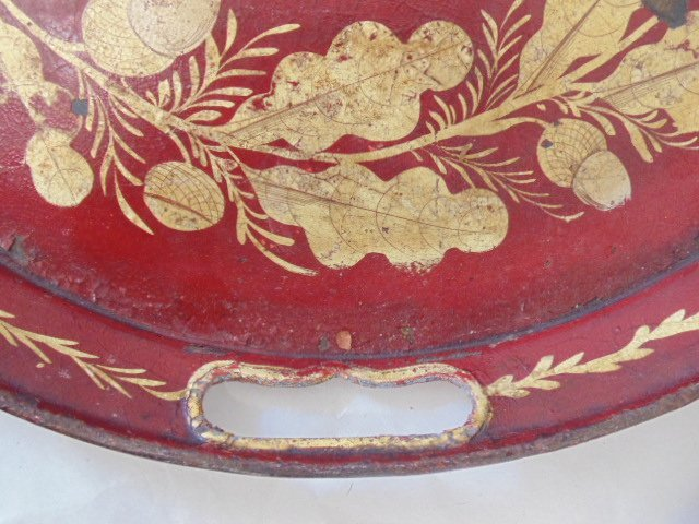 3 paint decorated tole & paper Mache serving trays - 6