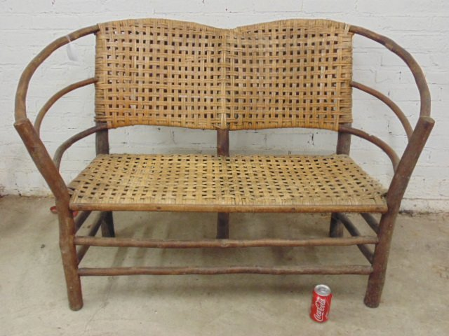 Old Hickory loveseat, woven seat & back