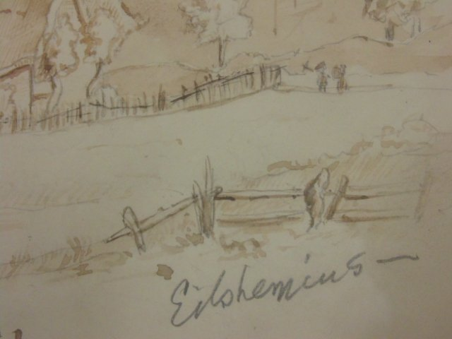 Pencil drawing, study, signed Eilshemius. - 4
