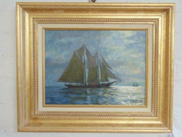 "Painting, ""Moonlight"" Rockport Mass., Arnold Knauth"