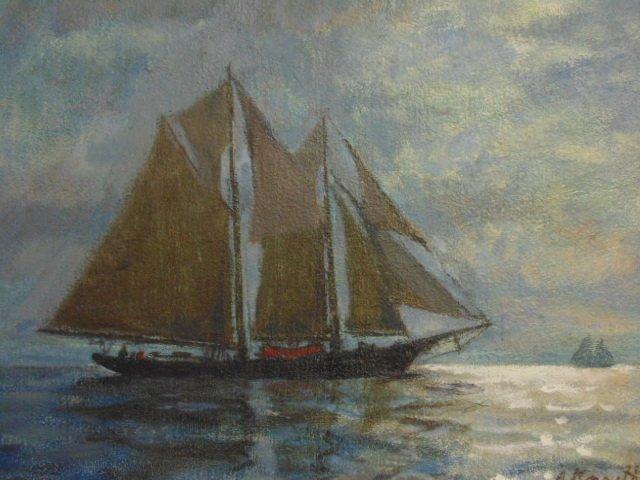 "Painting, ""Moonlight"" Rockport Mass., Arnold Knauth - 2"