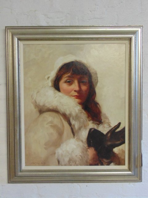 Painting, portrait of a lady, signed David Hatfield