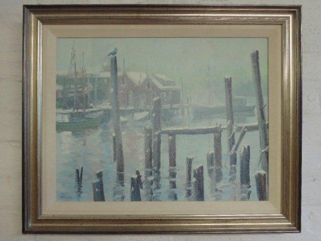 Painting, Rocky Neck harbor in snow,  John Nesta