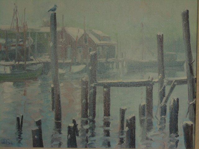 Painting, Rocky Neck harbor in snow,  John Nesta - 2