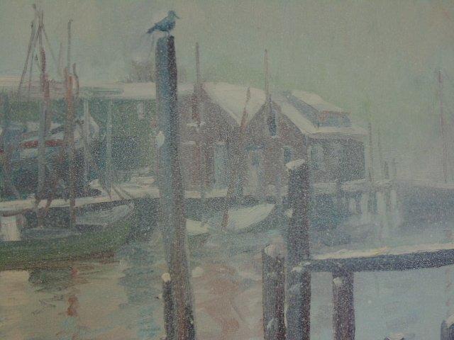 Painting, Rocky Neck harbor in snow,  John Nesta - 3