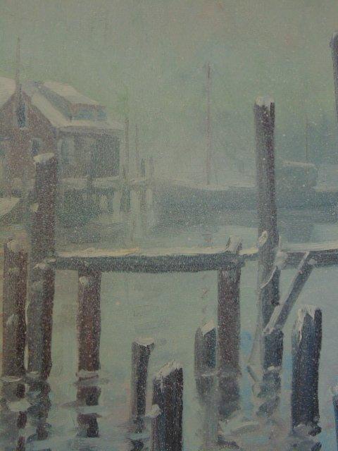 Painting, Rocky Neck harbor in snow,  John Nesta - 4