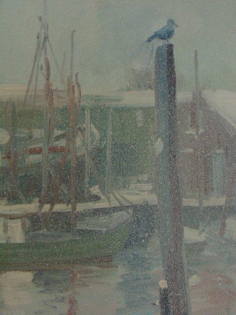 Painting, Rocky Neck harbor in snow,  John Nesta - 5