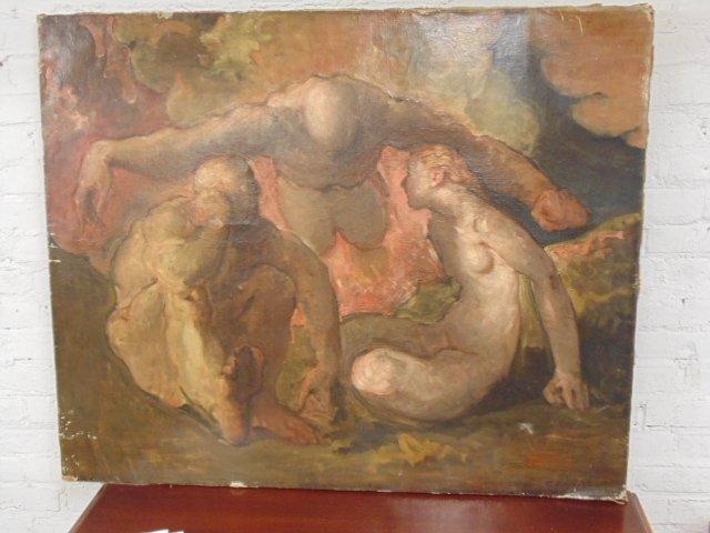 Painting, 3 nude figures,  G. Hunter Jones