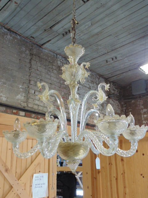 Vintage Murano crystal chandelier with sea horses
