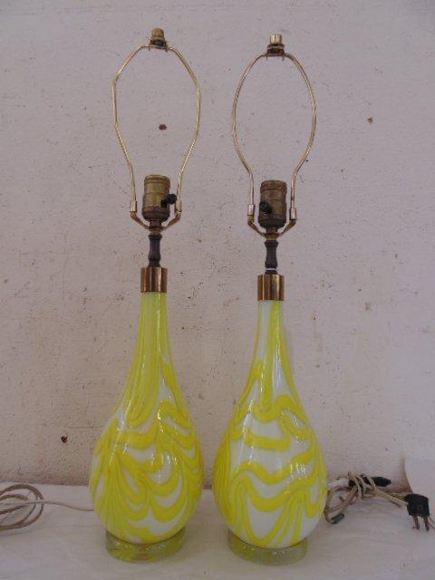 Pair art glass Murano lamps, Salviati & Co