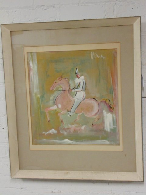 Pastel, clown on horseback, circus,  W. Philips