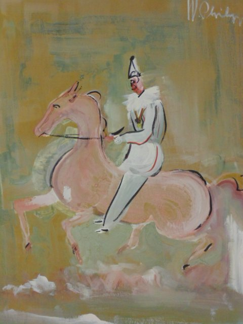 Pastel, clown on horseback, circus,  W. Philips - 2