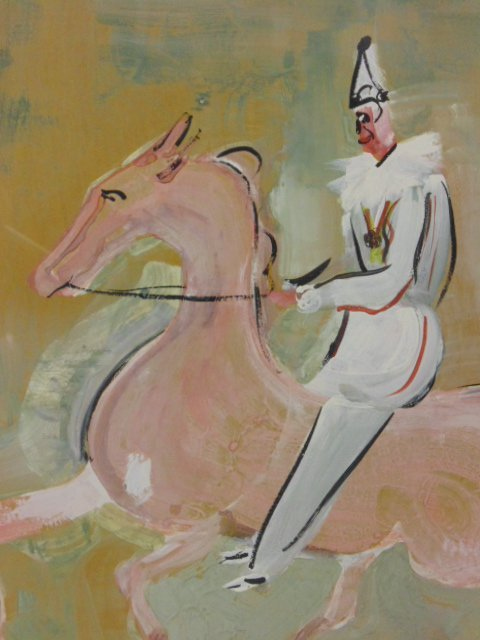 Pastel, clown on horseback, circus,  W. Philips - 3