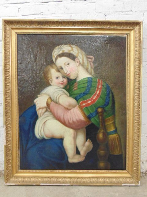 Painting, mother & child, old master