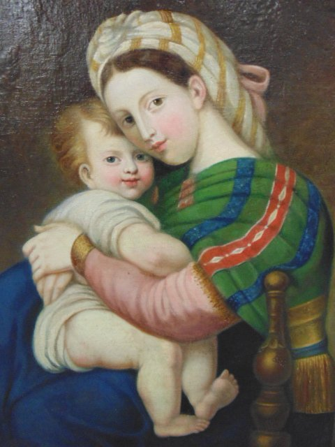 Painting, mother & child, old master - 2