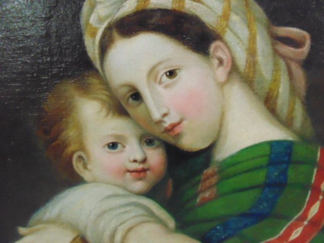 Painting, mother & child, old master - 3