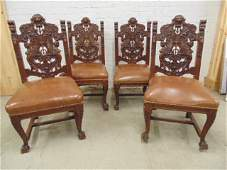 Set 4 carved oak Horner style side chairs