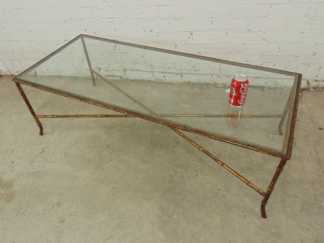 Faux bamboo gilt metal coffee table - 2