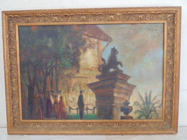 Painting, plaza with statues, by Ludolfs Liberts