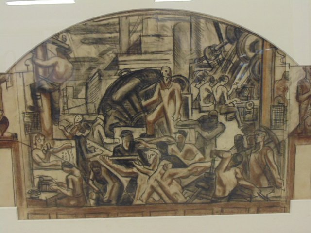 """Drawing, """"The Builders, mural study"""", by James - 2"""