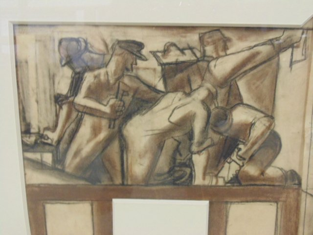 """Drawing, """"The Builders, mural study"""", by James - 3"""