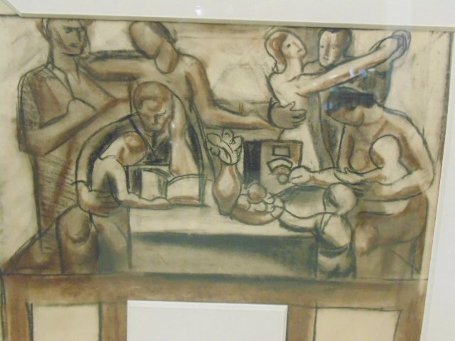 """Drawing, """"The Builders, mural study"""", by James - 4"""