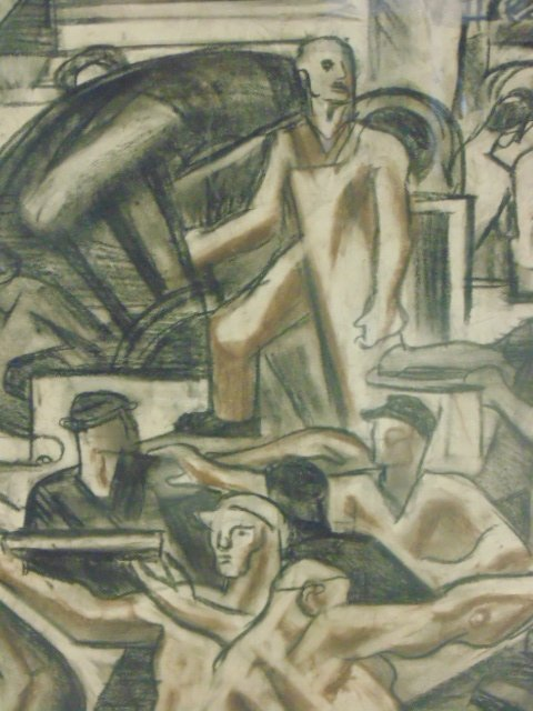 """Drawing, """"The Builders, mural study"""", by James - 5"""