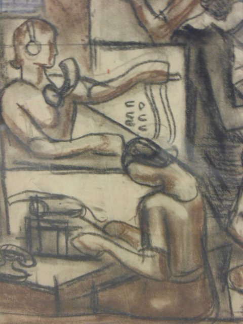 """Drawing, """"The Builders, mural study"""", by James - 6"""
