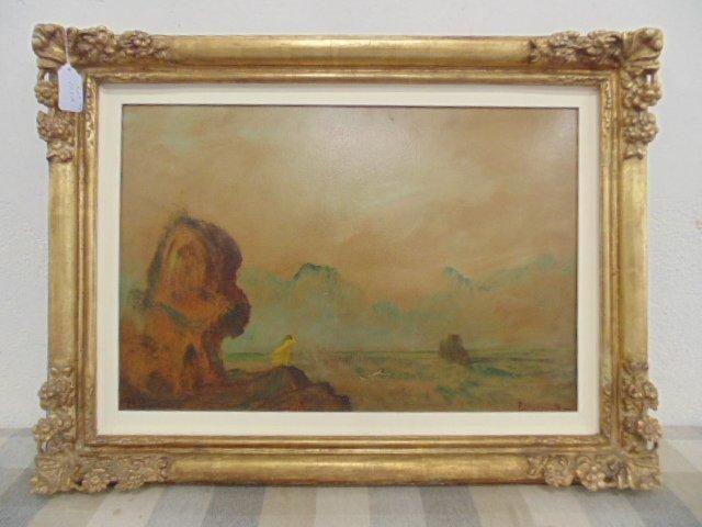 Painting, shore with figure, Louis Eilshemius