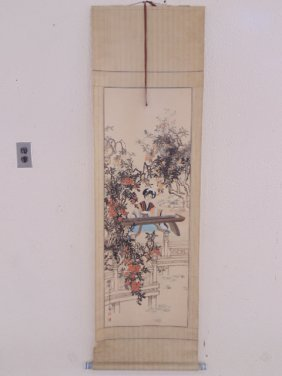 Chinese Asian scroll, lady playing harp