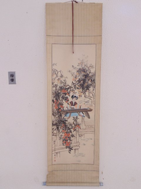 Chinese Asian scroll, lady playing harp