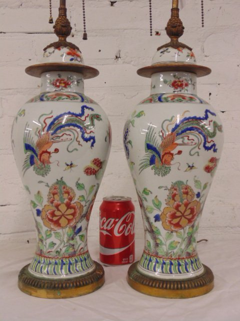 Pair Chinese porcelain & bronze table lamps