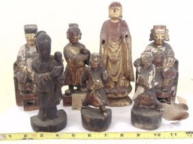 Lot 7 early carved wooden and decorated Chinese idols