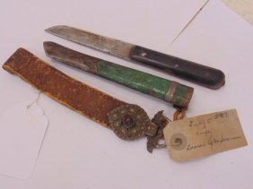 Early Tibet knife, leather & metal strap