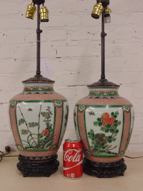 Pair Chinese porcelain lamps