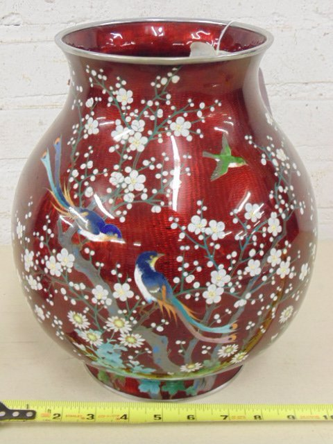Asian enamel, cloisonne vase